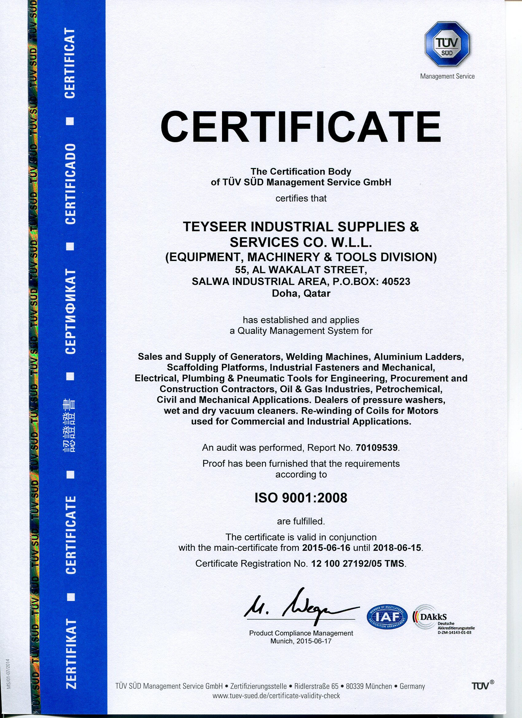 Teyseer industrial supplies services co wll certificates yadclub Image collections