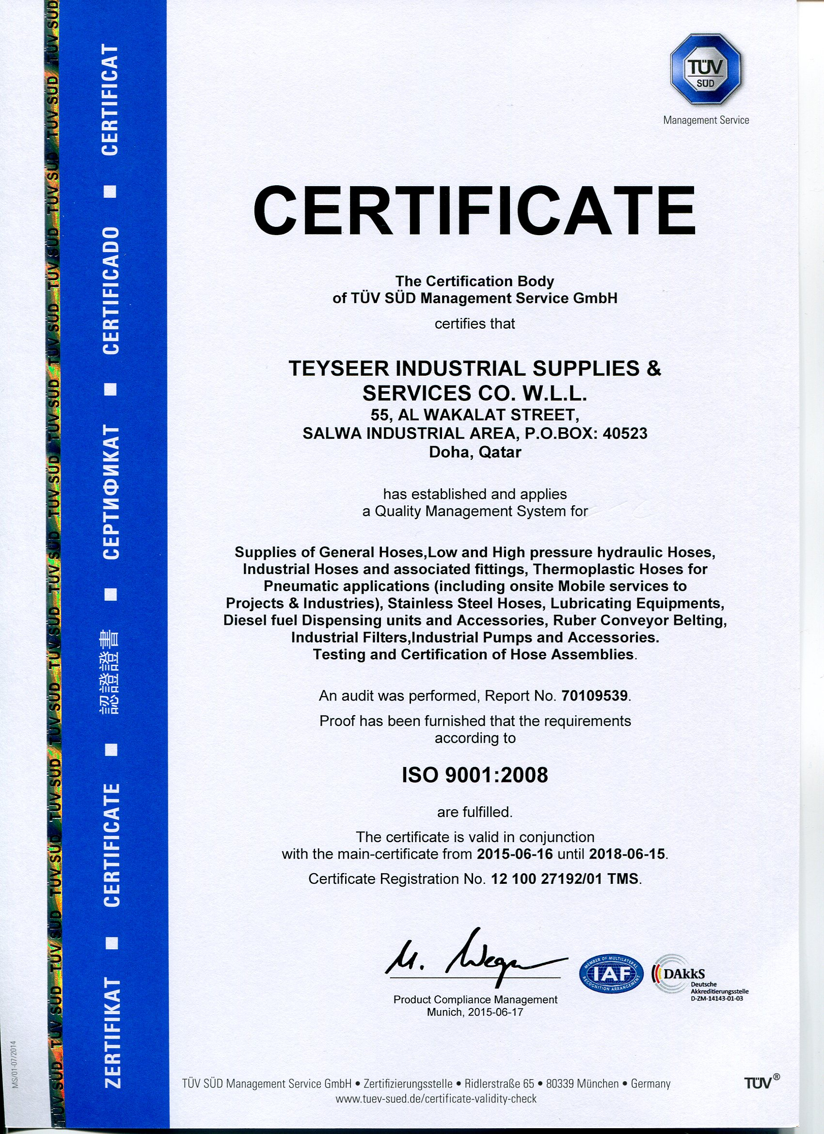 Teyseer Industrial Supplies Services Co Wll Mk Wiring Devices Catalogue 2016 Certificates