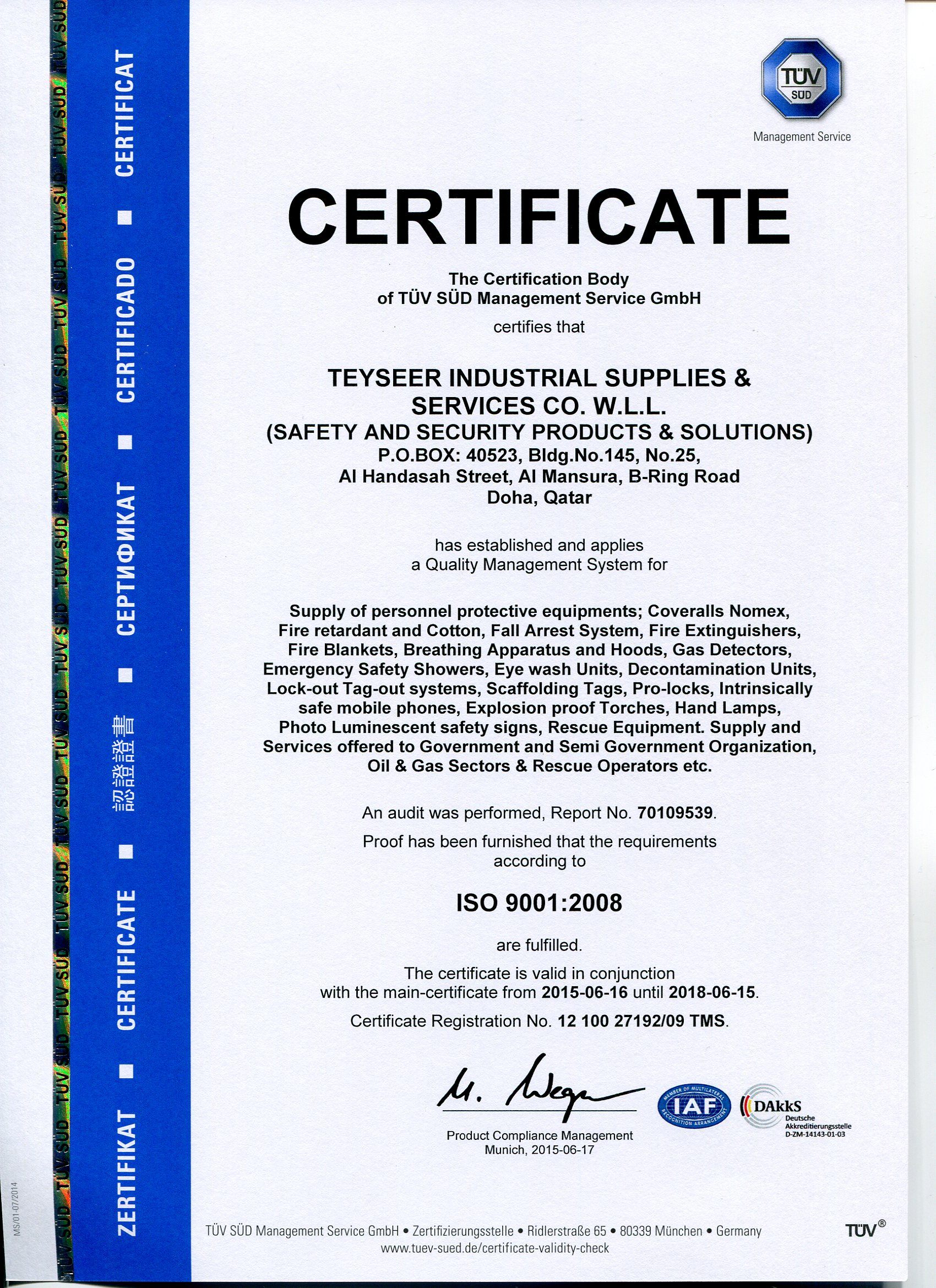 Teyseer industrial supplies services co wll certificates prev yelopaper Images
